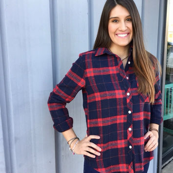 Red & Navy Flannel Blouse