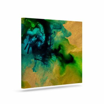 "Claire Day ""Glamorous"" Gold Green Abstract Painting Canvas Art"