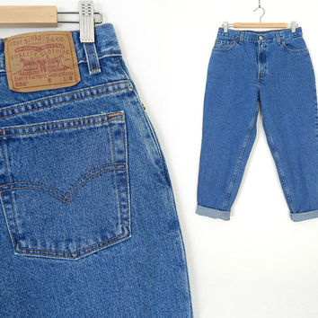 """Vintage 80s 90s High Waist Tapered Levi's 550 Jeans - Size 12 PETITE SHORT - Stone Washed Women's Relaxed Fit Jeans - 31"""" Waist"""