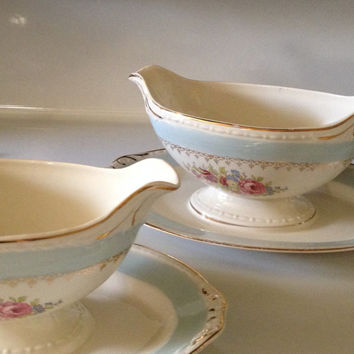 Homer Laughlin Chateau Eggshell Georgian Gravy Boats Attached Underplate Set of 2 1953