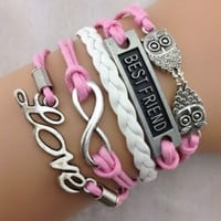 Best Friend Infinity Love Owls Silver Charm Braid Leather Bracelet | Pink & White | Wax Cord| Fashion Jewelry| Friendship Bracelet| Gift
