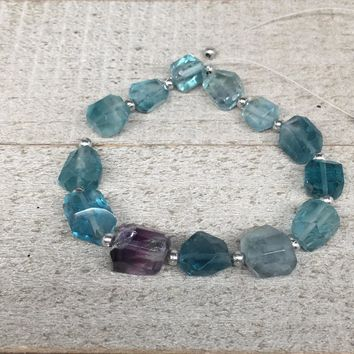 92.5cts, 13pcs, 8mm-12mm Blue Fluorite Gemstone Faceted Beads @Afghanistan,BE31
