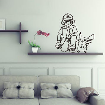 Pokemon GO Boy Pikachu DIY Vinyl Wall Stickers For Kids Rooms Home Decor Art Decals 3D Wallpaper decoration adesivo de Parede