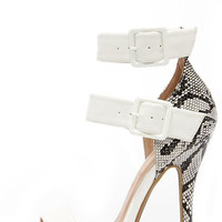 Snake-y Ground White Snakeskin Ankle Strap Heels