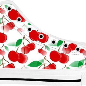Colorful cherries pattern sportwear, fruits themed white high tops, spring design