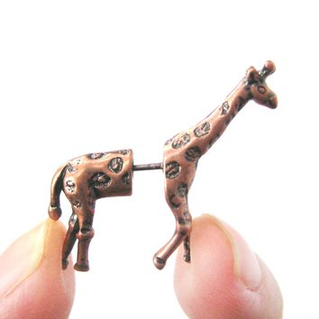 Fake Gauge Earrings: Realistic Giraffe Shaped Animal Faux Plug Stud Earrings in Copper