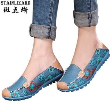 Women Flats 2017 PU Leather Casual Loafers Floral Walking Shoes Woman Moccasins Ladies