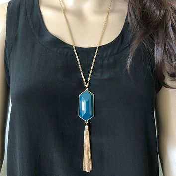 Teal Blue Resin Stone and Gold Tassel Long Necklace