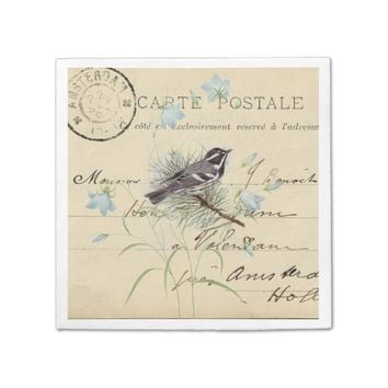 Vintage Bird Blue Flowers French Postcard Napkin