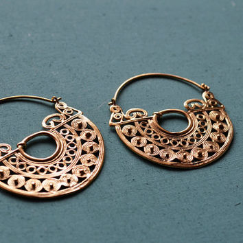 Tribal Half Moon Hoop Earrings / 18g / Antique Finishing / Tribal jewelry / Belly dance jewelry / Ethnic Hangers / Sold as pair