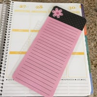 FREE SHIPPING Pink Flower Polka Dot To Do Laminated Dashboard Insert for Erin Condren Life Planner - clips right into coils!