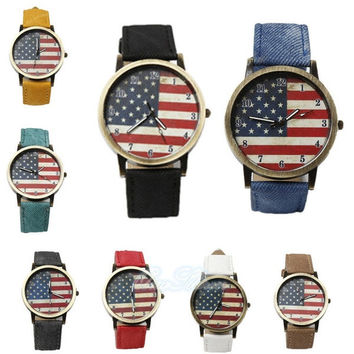 hot sale new fashion British retro Graffiti watches Korean simple style American flag denim belt lovers students watches