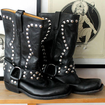 RUDEL Studded black leather studs vintage rocker boots motor bike motorbike 6,5 boho bohemian rocker booties free people coachella festival