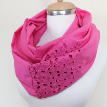 Pink Infinity Scarf, Pink Loop Scarf, Pink Fashion Accessory, Pink, Woman Fashion, Trendy Pink Scarf, Gift For Her, Handmade Women Accessory