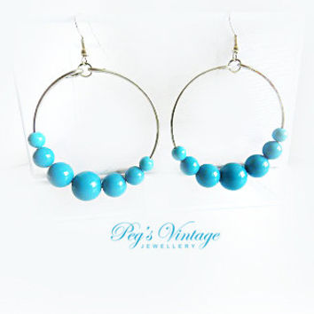 Turquoise Blue Plastic Bead Earrings, Silver Plated Hoop Earrings Handmade Vintage Costume Jewelry