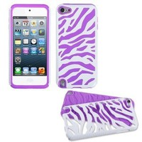 Fusion Dual Layer Hybrid White Zebra/Electric Purple Protector Case for Apple iPod Touch 5