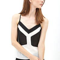 Black and White Color Block V-Neck Cami Tank Top