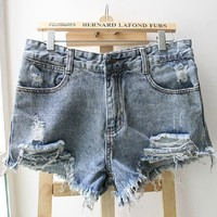 Sexy broken tassel denim shorts