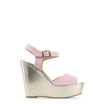 "Women's Pink & Gold Metallic ""Made in Italia BETTA"" Side Buckle Wedges Heels Shoes"