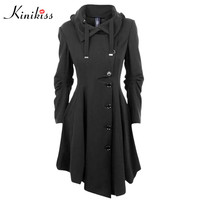 Kinkiss Fashion Long Medieval Trench Coat Women Winter Black Stand Collar Gothic Coat Elegant Women Coat Vintage Female 2017
