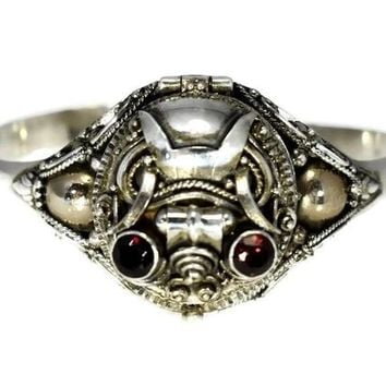 Vintage Sterling Silver Poison Bracelet Garnet Scarab Secret Compartment