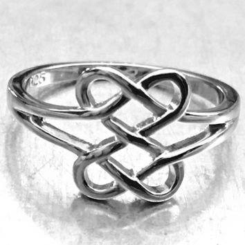 Double Heart Ring, Sterling Silver Celtic Ring, Celtic Jewelry, Celtic Design, Celtic Knot Ring