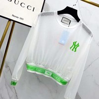 GUCCI x NY Summer Popular Women Casual Long Sleeve Perspective Prevent Bask T-Shirt Top White/Green