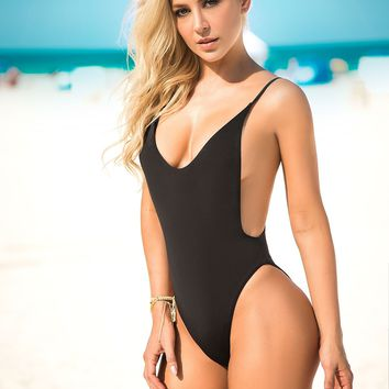 Black One Piece Swimsuit Sassy Assy Swimwear