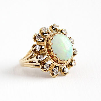 Vintage 14k Yellow Gold Opal & Diamond Cluster Ring - Estate Size 8 Large Green Blue Play of Color Oval Gemstone Halo Statement Fine Jewelry