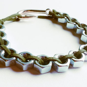 Mens Plus Size Hex Nut Bracelet Jewelry