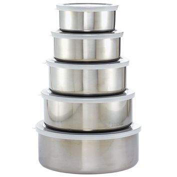 Imperial Stainless Steel Bowl and Lid 10-piece Set | Overstock.com Shopping - The Best Deals on Storage Canisters