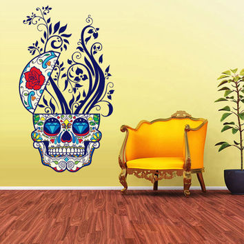 Full Color Wall Decal Mural Sticker Decor Art Beautyfull Cute Sugar Skull Bedroom Curly modern fashion (col345)