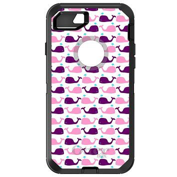 DistinctInk™ OtterBox Defender Series Case for Apple iPhone / Samsung Galaxy / Google Pixel - Purple Pink Cartoon Whales