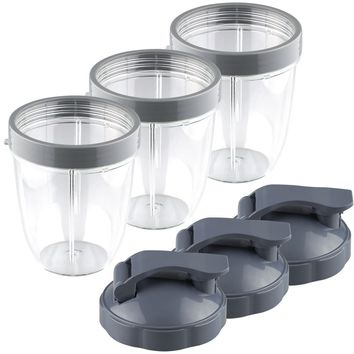 3 Pack NutriBullet 18 oz Short Cup with Lip Ring and Flip To-Go Lids