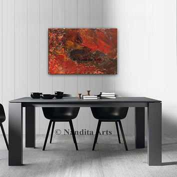 "Abstract Painting oil original artwork large square art fluid art fluid painting acrylic pour red seascape painting 36""x24""(91.44cmx60.96cm)"