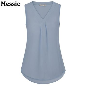 Messic Sleeveless V Neck Pleated Casual Chiffon Blouse Tank Tops 2018 Women Summer Lightweight Round Hem Vest Tops Black Shirts