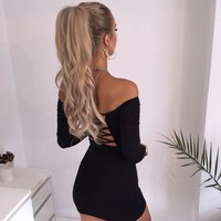 Long Sleeve Slim Club One Piece Dress [31298486298]
