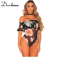 Dear lovers 2017 Summer New Arrival Sexy Women Teddies Lingerie Black Mesh Floral Off Shoulder Ruffle Bodysuit LC32153
