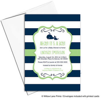 Nautical baby shower invite for boys in navy and green stripes - printable or printed - mommy and baby whales (797)