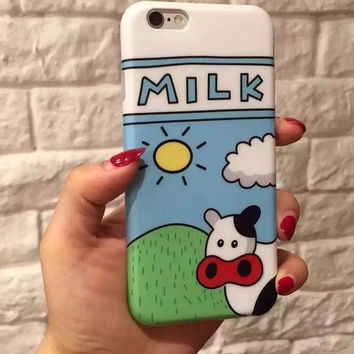 Cartoon Prairie Milk Case For iPhone