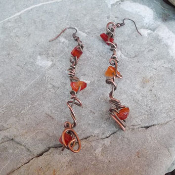Copper earrings FREE SHIPPING WORLDWIDE Carnelian Fashion  Boho   Wire Wrapped Jewelry Copper antique, vintage handmade steampunk / bohemian