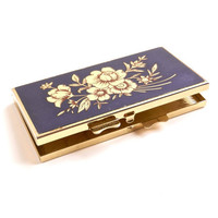 Vintage Pill Box  Gold & Blue Flower Container / by MaejeanVINTAGE