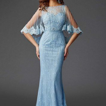 Clarisse - M6445 Lace Capelet Shimmering Evening Gown