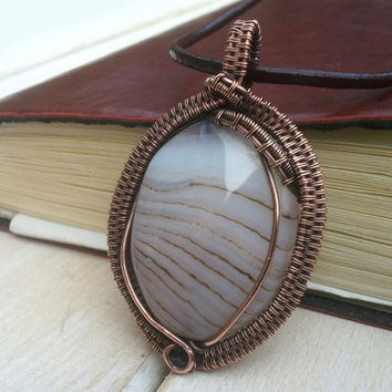 Banded Agate Pendant - Wire Wrapped Jewellery Handmade - Wire Pendant