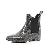River Island Womens Black glitter ankle rubber boots
