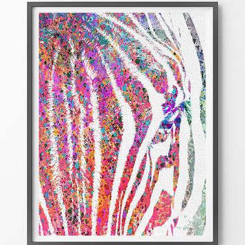 Zebra watercolor Print, colorful zebra art print, abstract animals zebra giclee print, birthday gift, wall art [NO 204]