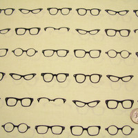 Geekly Chic - Glasses - Off White - Riley Blake Designs - Designer Cotton Quilt Fabric - Black Eyeglasses