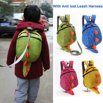 New 3D Cartoon Dinosaur Bag Baby Toddler Anti lost Leash Harness Strap Walker Kids Lunch Box Kindergarten Schoolbag Backpack