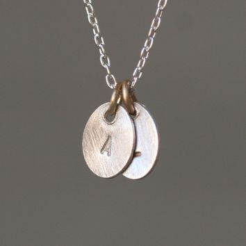 Double Tiny Oval Initial Necklace in Sterling Silver and 14k Gold