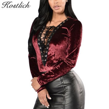 Kostlich 2017 Sexy Women Bodysuit Deep V-Neck Long Sleeve Summer Rompers Overalls Women Velvet Lace Up Rompers Womens Jumpsuit